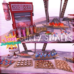 [LJ] Surfy Snacks Promo Pic 1 (Tala Laval) Tags: life party summer food snow beach cookies yummy key mesh machine shrimp donuts hawaiian second snacks cones watermellon skewers kebabs elephante gacha givers gatcha