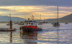 Georgina (Paul Rioux) Tags: sunset canada water clouds evening boat marine ship dusk britishcolumbia vessel calm vancouverisland tugboat tug fishingvillage georgina cowichanbay prioux