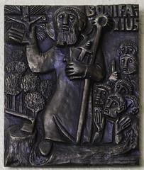 St Boniface (Lawrence OP) Tags: saint bronze germany monk basrelief boniface apostle