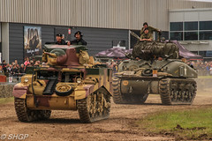 M3 Stuart and M4 Sherman, Tank Fest 2016, Bovington Tank Museum (harrison-green) Tags: tank fest 2016 bovington museum armour armor vehicle canadian army land forces armed day military canon eos 700d sigma 18250mm outdoor leopard 2 a4 dutch royal netherlands car shgp steven harrisongreen valentine british world war two ii britain england africa north libya tunisia afrika korps infantry matilda 1 one i comet cromwell cruiser light stuart m3 m5 m3a1 m5a1 reconnaissance