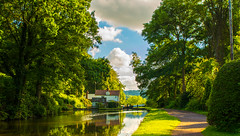 Hyde Lock,Kinver (williamrandle) Tags: uk trees summer england sky green water beautiful clouds reflections landscape canal woods woodlands nikon outdoor cottage peaceful serene staffordshire westmidlands towpath waterways kinver 2016 southstaffordshire lockkeeperscottage lushfoliage d7100 hydelock tamron2470f28vc staffordshireworcestersahirecanal