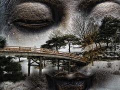 a buddhist prayer for peace (LotusMoon Photography) Tags: light photomanipulation photoshop dark japanese japanesegarden artwork artistic buddha prayer layers annasheradon