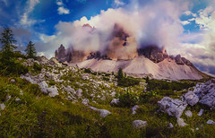 Oniric | Tre Cime di Lavaredo (Hosom Photography) Tags: tre cime di lavaredo trentino alto adige italia mountains clouds warm sunset panorama panoramic nature