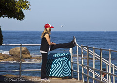 Stretch (slaup) Tags: street red sea woman beach bondi lady female photography exercise candid cap nsw newsouthwales stretching excercising