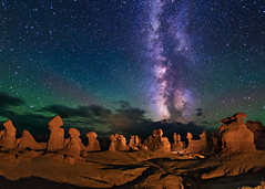 Goblin Valley at Night (Wayne Pinkston) Tags: nightphotography sky lightpainting night canon stars star galaxy astrophotography nightsky goblinvalley milkyway utahstatepark canon6d landscapeastrophotography waynepinkston lightcraftercom wwwlightcraftercom