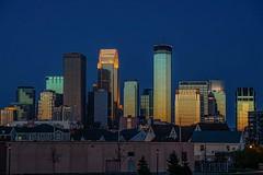 Golden City (Doug Wallick) Tags: blue sunset reflection minnesota skyline circle golden humboldt north minneapolis hour april 2015