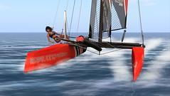 AH_morning_sailing... (1) (agaas_nigig) Tags: sea speed sailing foil sails sl secondlife catamaran faster