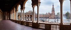 Plaza de España de Sevilla (fernando_gm) Tags: travel viaje españa color colour architecture 35mm sevilla spain arquitectura fuji panoramic seville panoramica fujifilm turismo viajar airelibre