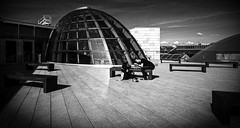 Liverpool Roof Top (grahamhutton) Tags: wood city roof bw monochrome metal liverpool mono library done liverpoolcentrallibrary liverpoolrooftops