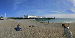 brighton pier (maximorgana) Tags: people panorama tower clock beach wheel pier brighton flag cari ferrys