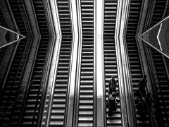 >haveabreak< (ines_maria) Tags: street light people urban reflection monochrome lines contrast subway escalator bei humaningeometry streetphotograpie