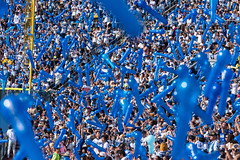 the lucky blue 7th round (ken_tsuda) Tags: blue people sports japan lens prime tokyo fan nikon cityscape colours baseball bokeh stadium balloon telephoto f2 yokohama nikkor spectator 200mm kentsuda 20160515hbaseball8005
