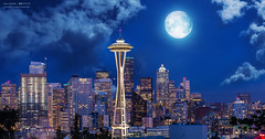 Space Needle (yuyustudio) Tags: seattle city light moon night washington spaceneedle ef70200mm canon5diii