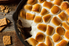 Homemade S'mores Dip with Graham Crackers (brent.hofacker) Tags: wood food black dessert wooden milk colorful iron cookie candy sweet chocolate sticky rustic chips campfire cast marshmallow snack messy castiron smores pan treat cracker dairy dip graham sandwiches sugary crackers indulgence confectionery unhealthy baked skillet roasted dipping frying toasted ingredient kitchenware malting smoresdip