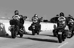 IMG_2391-hells-angels-CA-bw-f (posyche) Tags: leather motorcycles freeway highway101 bikers riders ukiah hellsangels