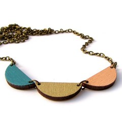 Trio Scallop Bunting Style Necklace (red paper house) Tags: summer colour fashion gold wooden necklace contemporary teal peach style minimal trio etsy scallop bold bunting folksy lasercut goldnecklace etsyseller woodennecklace notonthehighstreet etsyfinds noths lasercutnecklace redpaperhouse