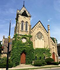 Brant Ave. (glantine) Tags: door wood ontario canada church yellow architecture bricks ivy converted condos brantford brantave