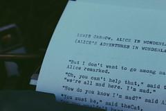 Lewis Carrow, Alice in Wonderland (karinafagundes) Tags: camera old winter brazil brasil canon vintage cool soft quote alice grunge letters portoalegre pale retro write wonderland poa rs canoneos riograndedosul aliceinwonderland eosrebel afterlight canoneosrebel maquinadeescrever olivettilettera vsco vscocam grungepale grungesoft lewiscarrow