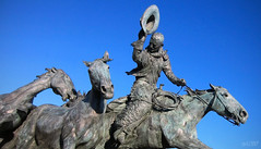Greetings from Cowtown (~ Mariana ~) Tags: city sky horses calgary canon cowboy alberta mariana cowtown urbanstatue travelsofhomerodyssey outstandingromanianphotographers marculescueugendreamsoflightportal