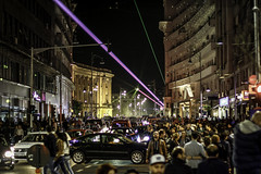 International Day of Light Celebration in Bucharest (Vlad Ilinca) Tags: show city light people night 50mm center busy laser