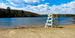 Waiting For Swim Season (Catskills Photography) Tags: lake water landscape spring schedule lifeguardchair odc hbm hss canong15