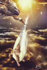 Special Delivery (vickileaboulter) Tags: sunset portrait sky people baby sun art kids clouds digital photoshop studio photography dawn design shoot child little creative delivery imagination stork