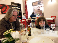 Bruce Sterling and Poesy at dinner 2, Turin, Italy (gruntzooki) Tags: italy torino italia it turin brucesterling bruces makers poesy fablab hackerspace hackspace makerspace torinofablab turinfablab