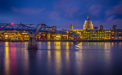 St. Paul's and the Millennium Bridge (Wizard CG) Tags: world city uk travel bridge sunset vacation england building london water st thames skyline architecture night digital river ed four long exposure arch slow waterfront cathedral outdoor united ngc kingdom millenium pauls olympus tourist micro attraction 43 thirds shutterspeed trekker m43 creativeartphotography mzuiko