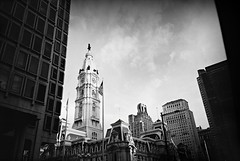 R1-E001 (David Swift Photography Thanks for 16 million view) Tags: film philadelphia 35mm buildings cityscape skyscrapers cities skylines americanflag ilfordxp2 streetscapes williampenn yashicat4 centercityphiladelphia cityhallphiladelphia davidswiftphotography