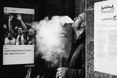 Smoke (MobilShots) Tags: street city people urban blackandwhite monochrome outside fuji outdoor smoke hamburg smoking fujifilm xt1