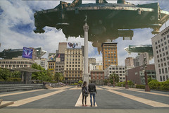 the observers (areacode) Tags: sanfrancisco city abandoned couple approved spaceship unionsquare retailwontsaveyou