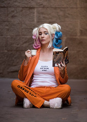 Harley Quinn Prison tea time Suicide Squad 2016 (HarleyCyn) Tags: harleyquinn harleycyn suicidesquad cosplay costume cosplayphotography costuming photoshoot juliusphotography phoenixcomicon2016 harleyquinncosplay harleyquinncostume prisonharley prison blackgate arkham pigtails curlers tea romancenovel jail prisoner curls blue pink blonde jailscene slippers orange prisonuniform