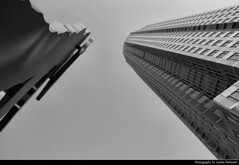 Messeturm & Hammering Man, Frankfurt, Germany (JH_1982) Tags: messeturm messetower messe hammering man statue steel looking up vertigo trade fair     helmut jahn jonathan borofsky black white grey greyscale bw blackwhite schwarz weiss grau offices office tower towers bro bros highrise highrises building buildings architecture architektur skyscraper skyscrapers frankfurt frankfurter francfort frncfort francoforte meno     hessen hesse germany deutschland allemagne alemania germania