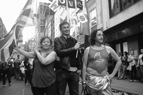 """""""Love Wins"""" - Legendary gay socialite Philip Sallon (right) was among the hundreds of Londoners who came to support Orlando's LGBT community at the Soho vigil in memory of the victims of the gay nightclub terror attack."""