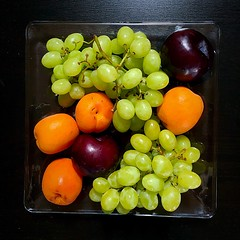 eat your fruits  (#KPbIM) Tags: red summer food orange color green june plate grapes plums apricots vitamins 2016