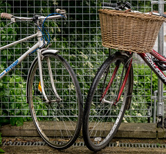 Together-3.jpg (+Pattycake+) Tags: voyage blue red wet rain bike dof basket bell outdoor spoke spokes wheels raleigh textures together brakes rim wicker railings handlebars linked guttering shallowdof