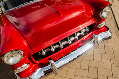 Grill for the '55 (GmanViz) Tags: color detail chevrolet 1955 car nikon automobile headlights bumper chrome hood grille custom gmanviz d7000