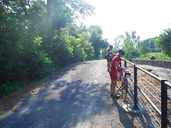 2-riders. (tenzing211) Tags: travel red summer ny green bike bicycle canal ride outdoor adventure trail erie touring