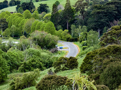 Very Curvaceous (Steve Taylor (Photography)) Tags: curve bend littleriver tow truck road looking down newzealand nz southisland canterbury trees