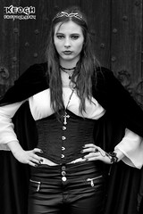 IMG_5643 (Neil Keogh Photography) Tags: white black church girl graveyard leather silver cross pants boots goth blouse jacket corset crown headdress neckless leatherpants whitbygothweekend borderfx