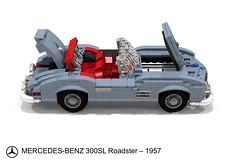 Mercedes-Benz 300SL Roadster  (1957) (lego911) Tags: auto wood classic car germany mercedes benz model lego render under over convertible sl german 1950s mercedesbenz million 1957 natalie 300 mb challenge thousand cad lugnuts 89 roadster povray moc ldd miniland lego911 overamillionunderathousand