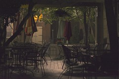 Downtown Cary at Night (kurt_hilton_photography) Tags: night project nc alley nikon triangle iron downtown chairs cola coke patio tables 365 umbrellas coca cary d5200