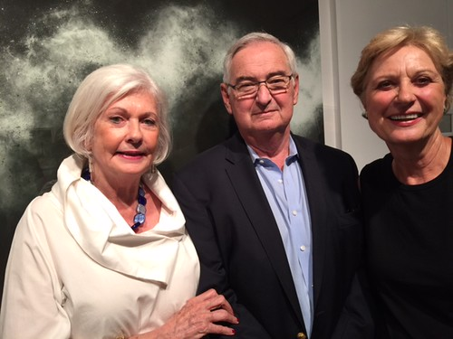 Susan Kelly with husband Bill Roy and collector Krista Paul at the classical music concert and closing night of the Sebastian Spreng  exhibit at Kelly Roy gallery