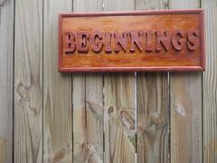 Beginnings (m.regan.p) Tags: wood philadelphia sign cherry words oak centercity text letters grain philly kensington simple beginnings