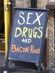 Sex Drugs & Bacon Rolls (digipiks06) Tags: street food london sex shop square bacon billboard shoreditch hoxton rolls dugs eateries