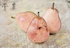 Pears on Bamboo Plate (guizhou2012) Tags: stilllife texture fruit nikon bamboo pear rendered 书法 watercoloreffect calligrapher 梨 memoriesbook colorpencilsketchconversion