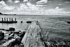 The Plank (Scosanf) Tags: trip travel blackandwhite bw gulfofmexico water monochrome canon landscape eos bay pier dock marine texas ef2470mmf28lusm seabrook kemah 6d topazclarity