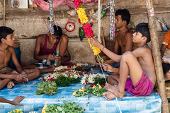 Guys Making Garlands (rob of rochdale) Tags: flower boys work religion garland trade kolkata bengal maket robhaich
