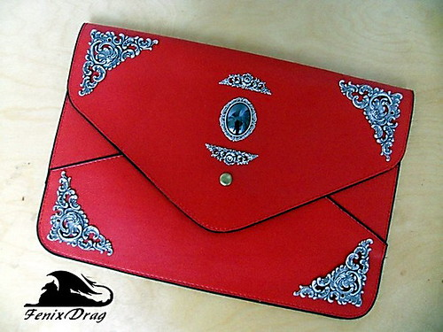 Red leather bag for tablet coating hematite silver vintage style steampunk, Gothic, Victorian, fantasy filigree accessories