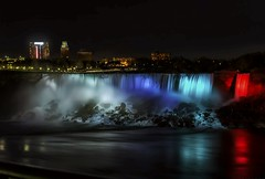 Niagara Nights (Gary Burke.) Tags: ca longexposure travel vacation ny newyork ontario canada tourism wet water skyline night america canon eos lights niagarafalls evening cityscape view fb north illumination upstate canadian niagara falls wanderlust traveling dslr overlook lightshow touristattraction fallsview americanfalls cliftonhill 70d garyburke klingon65 niagarafallsillumination canoneos70d